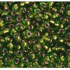 Seedbead 2/0 Transparent Chartreuse Green/Copper Lined